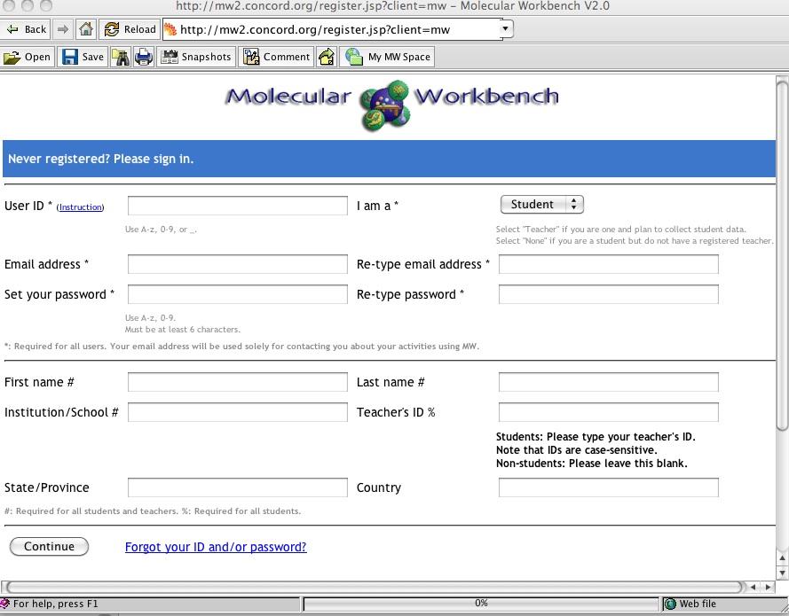 registrazione molecular workbench